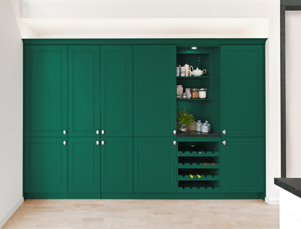 Kitchen pantry in Racing Green by Kuhlmann