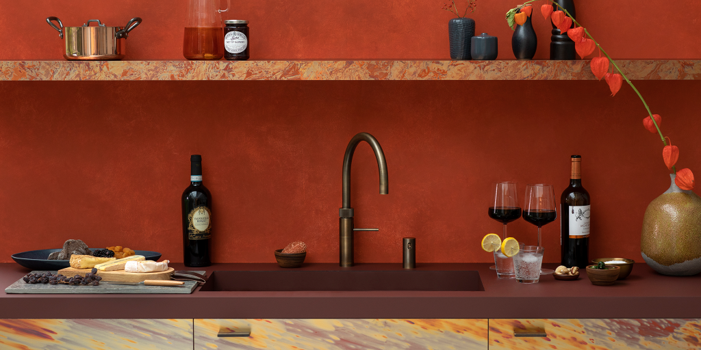 Quooker hot tap in patinated brass