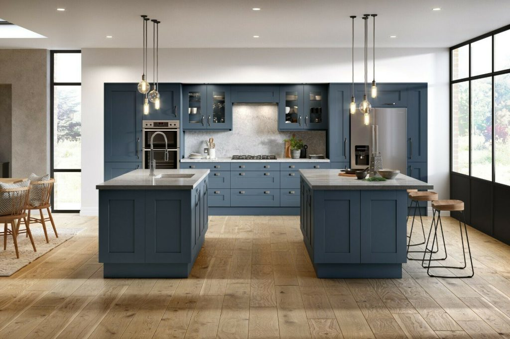 Shaker style kitchen with American fridge freezer